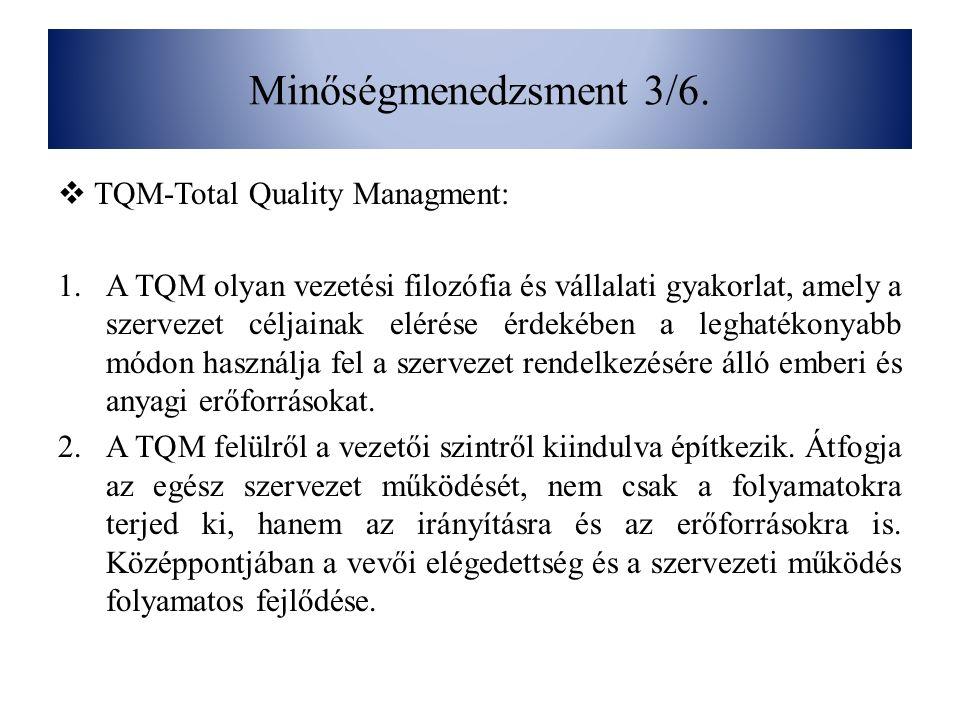 Minőségmenedzsment 3/6. TQM-Total Quality Managment: