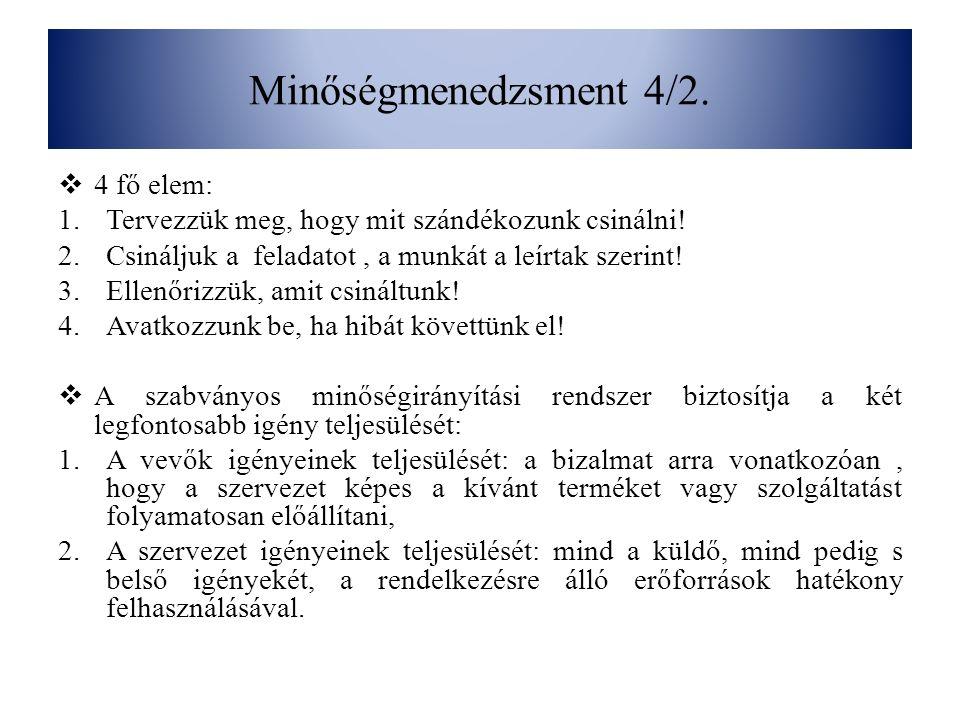 Minőségmenedzsment 4/2. 4 fő elem:
