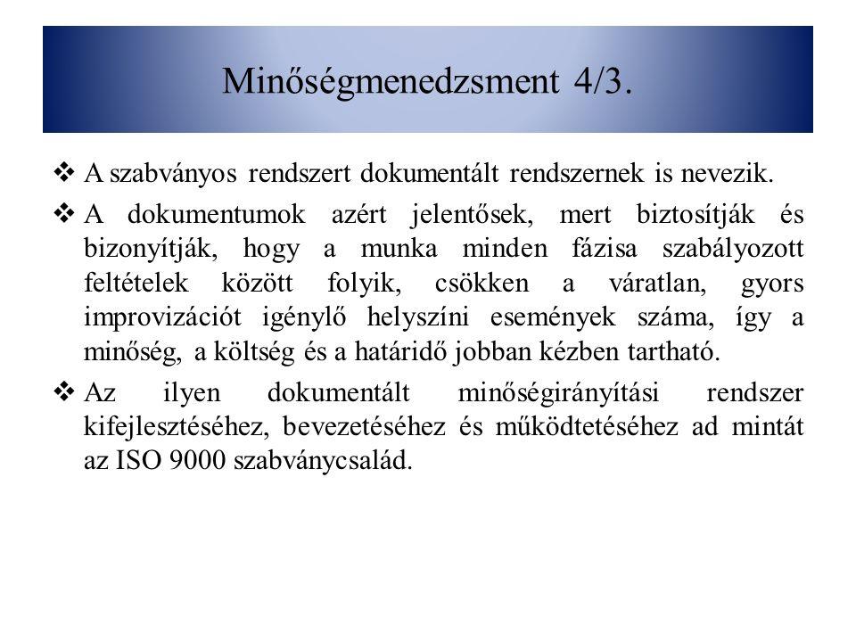 Minőségmenedzsment 4/3. A szabványos rendszert dokumentált rendszernek is nevezik.