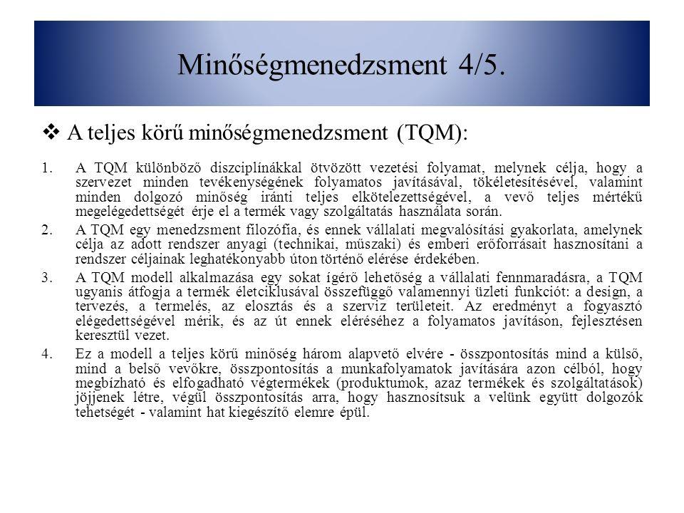Minőségmenedzsment 4/5. A teljes körű minőségmenedzsment (TQM):