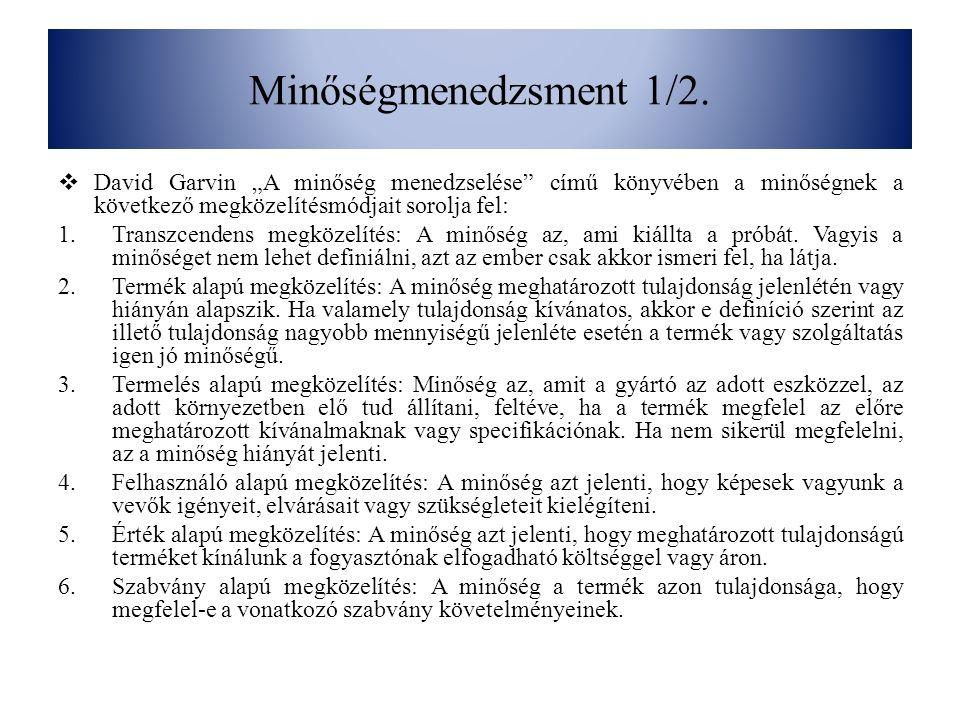 """Minőségmenedzsment 1/2. David Garvin """"A minőség menedzselése című könyvében a minőségnek a következő megközelítésmódjait sorolja fel:"""