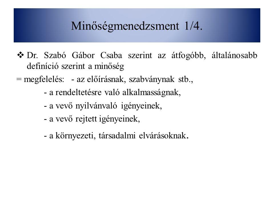 Minőségmenedzsment 1/4. Dr. Szabó Gábor Csaba szerint az átfogóbb, általánosabb definíció szerint a minőség.