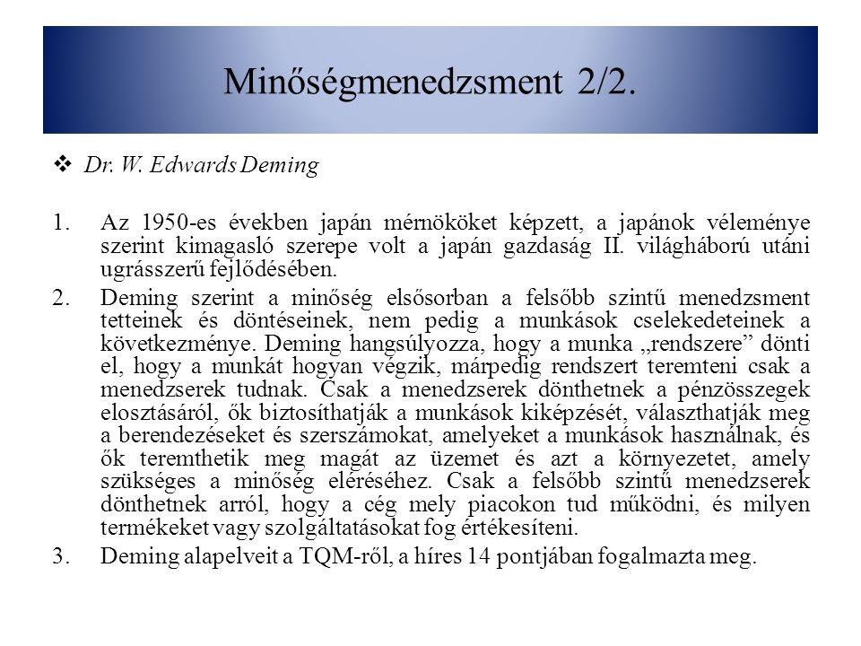 Minőségmenedzsment 2/2. Dr. W. Edwards Deming