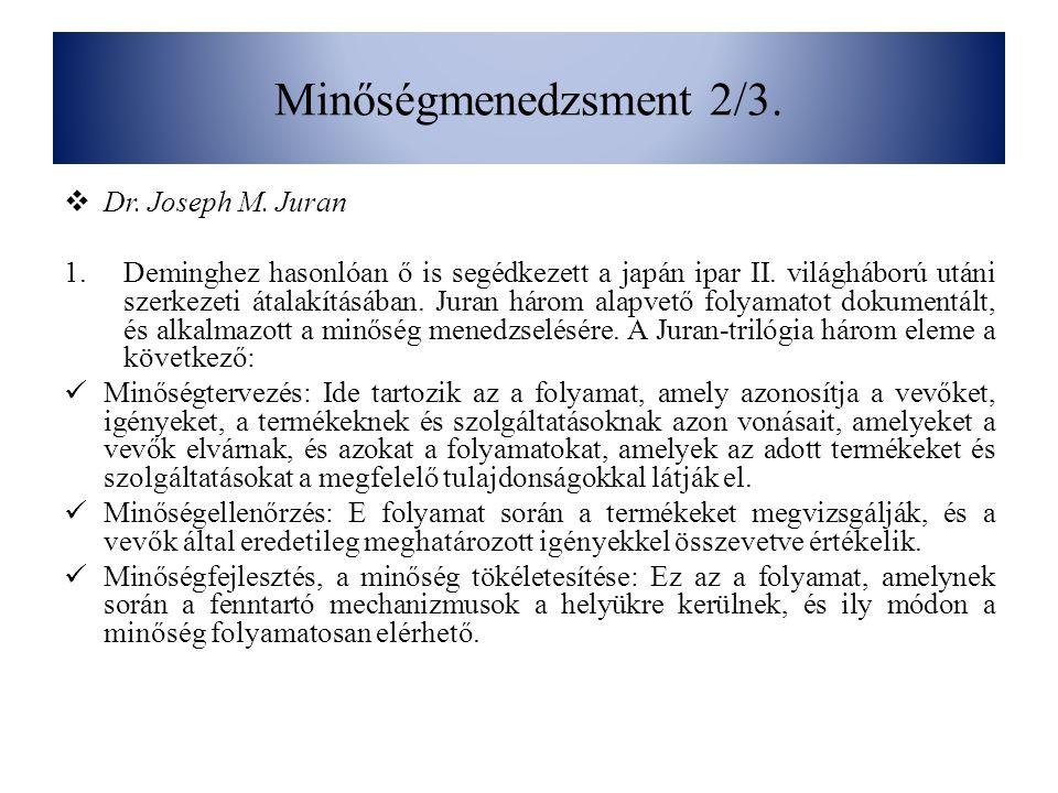 Minőségmenedzsment 2/3. Dr. Joseph M. Juran