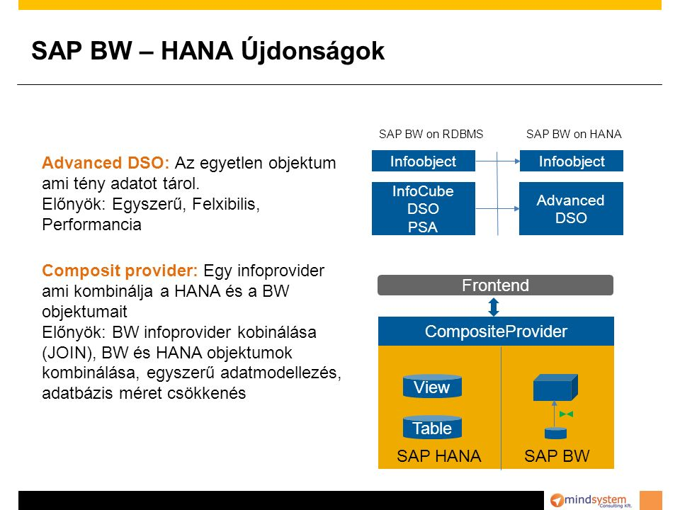 SAP BW – HANA Újdonságok