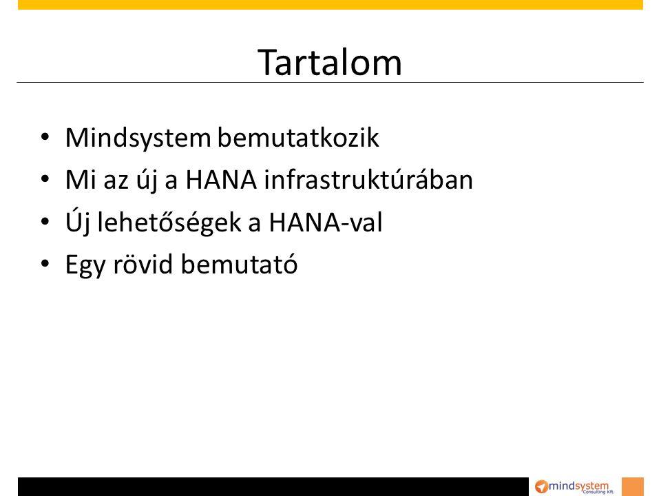 Tartalom Mindsystem bemutatkozik Mi az új a HANA infrastruktúrában