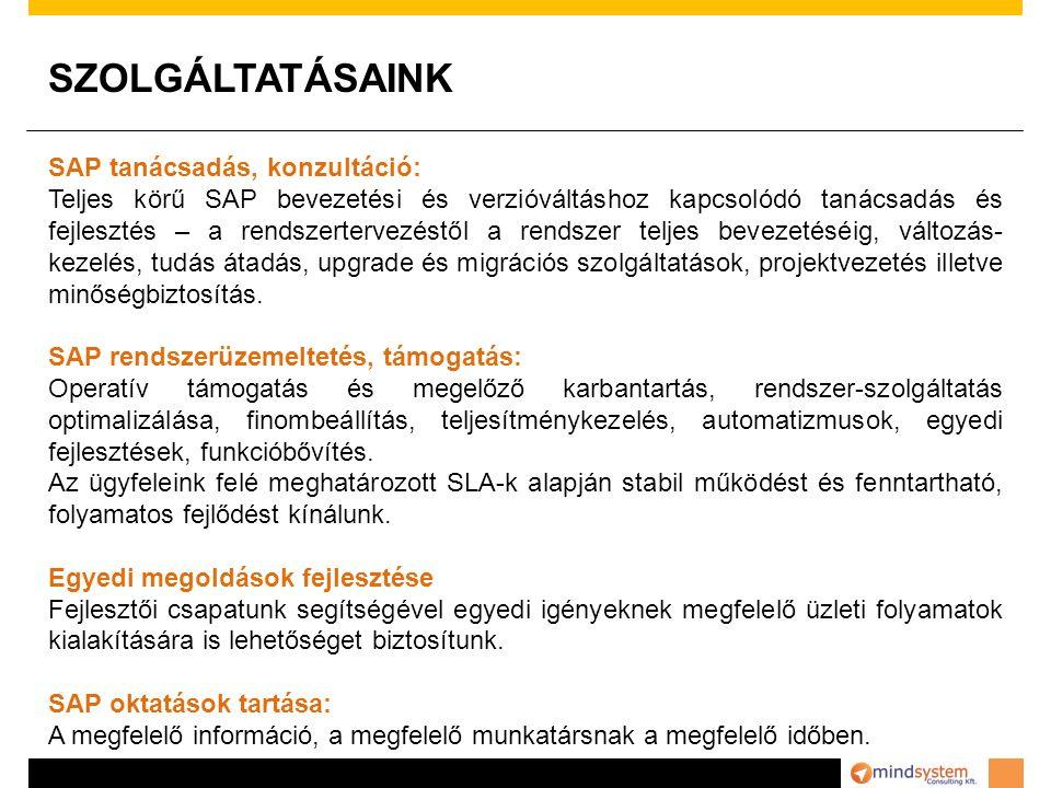 SZOLGÁLTATÁSAINK SAP tanácsadás, konzultáció: