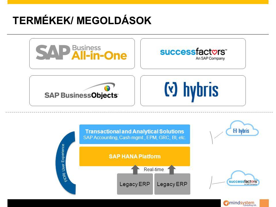 TERMÉKEK/ MEGOLDÁSOK Transactional and Analytical Solutions SAP Accounting, Cash mgmt., EPM, GRC, BI, etc.