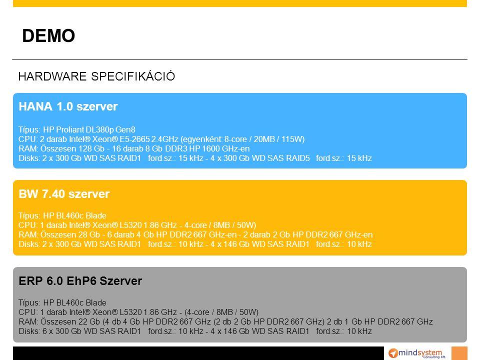 DEMO HARDWARE SPECIFIKÁCIÓ HANA 1.0 szerver BW 7.40 szerver