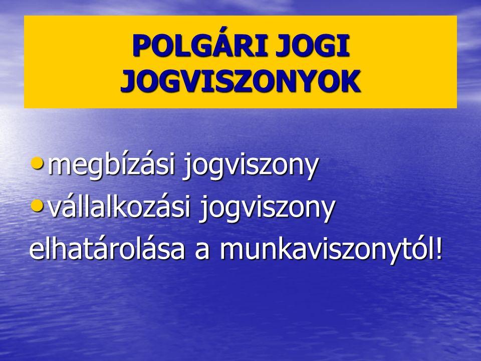 POLGÁRI JOGI JOGVISZONYOK