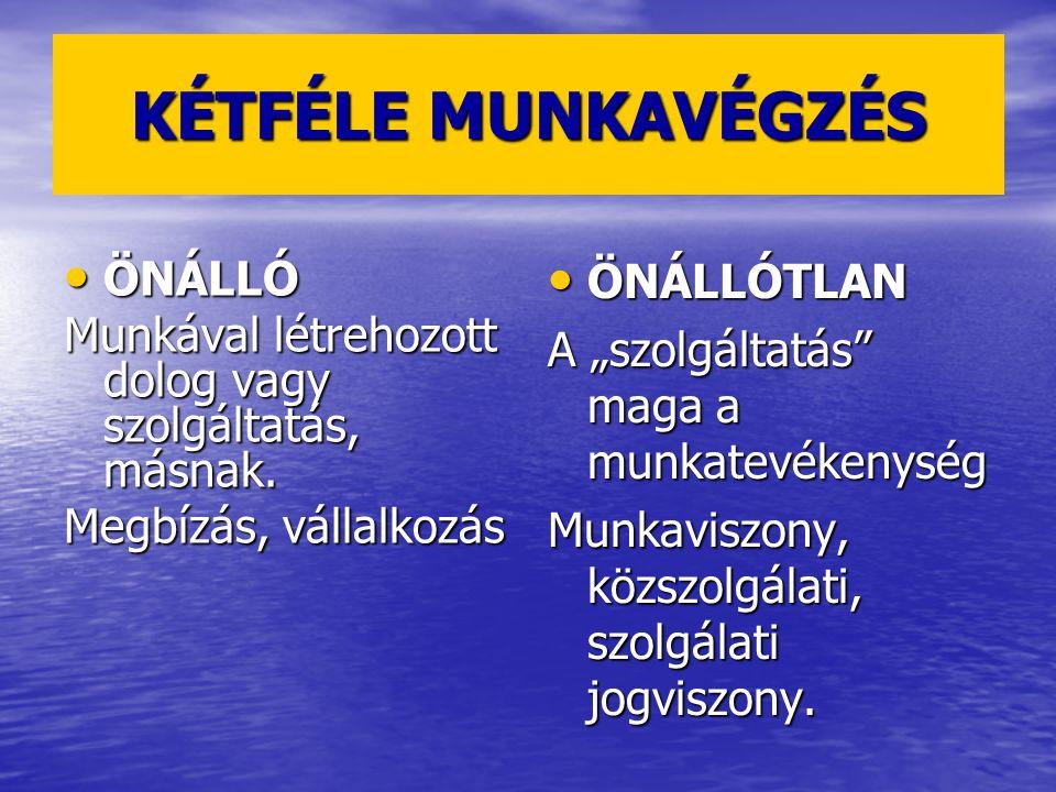 KÉTFÉLE MUNKAVÉGZÉS ÖNÁLLÓTLAN ÖNÁLLÓ