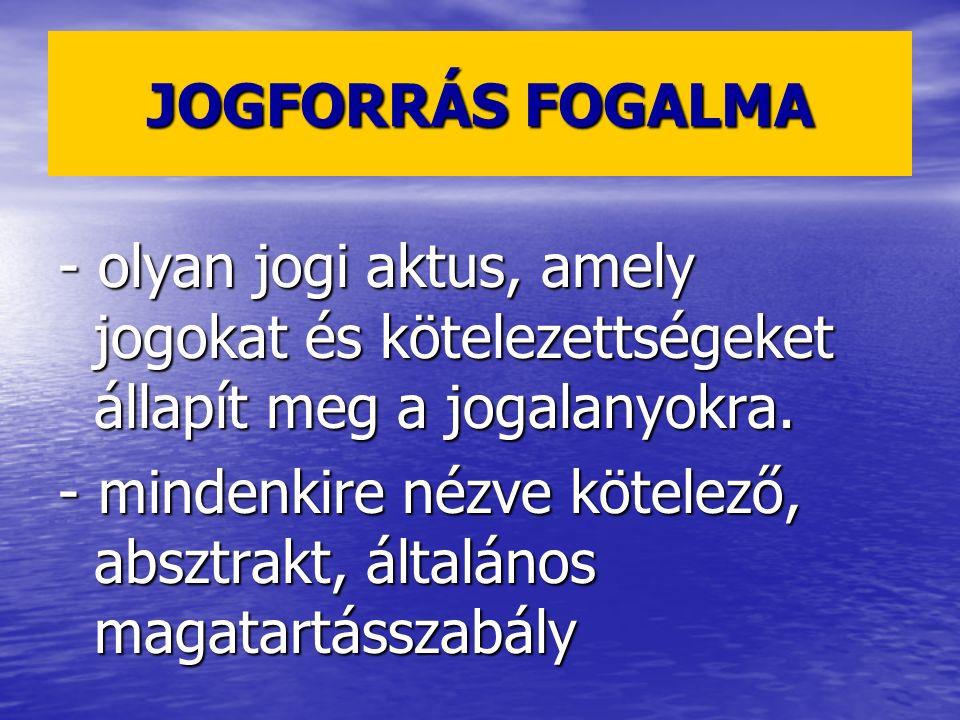 JOGFORRÁS FOGALMA - olyan jogi aktus, amely jogokat és kötelezettségeket állapít meg a jogalanyokra.