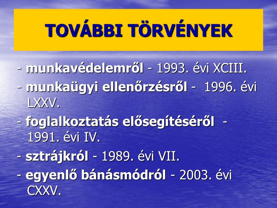TOVÁBBI TÖRVÉNYEK - munkavédelemről - 1993. évi XCIII.
