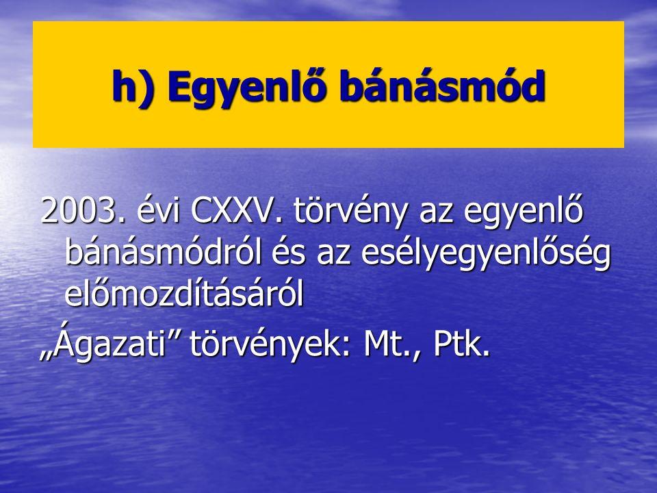 h) Egyenlő bánásmód 2003. évi CXXV. törvény az egyenlő bánásmódról és az esélyegyenlőség előmozdításáról.
