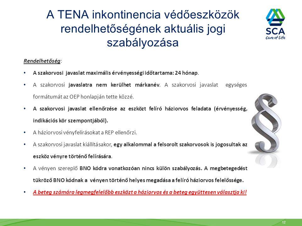 A TENA inkontinencia védőeszközök rendelhetőségének aktuális jogi szabályozása