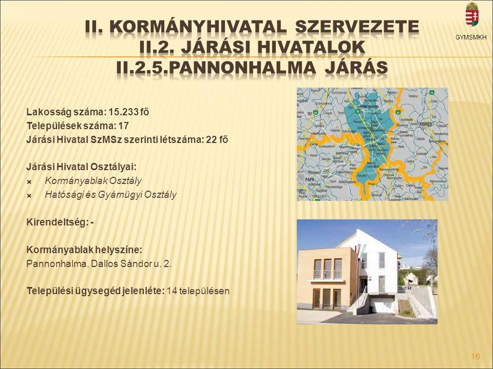 II. Kormányhivatal szervezete II. 2. Járási hivatalok II. 2. 5