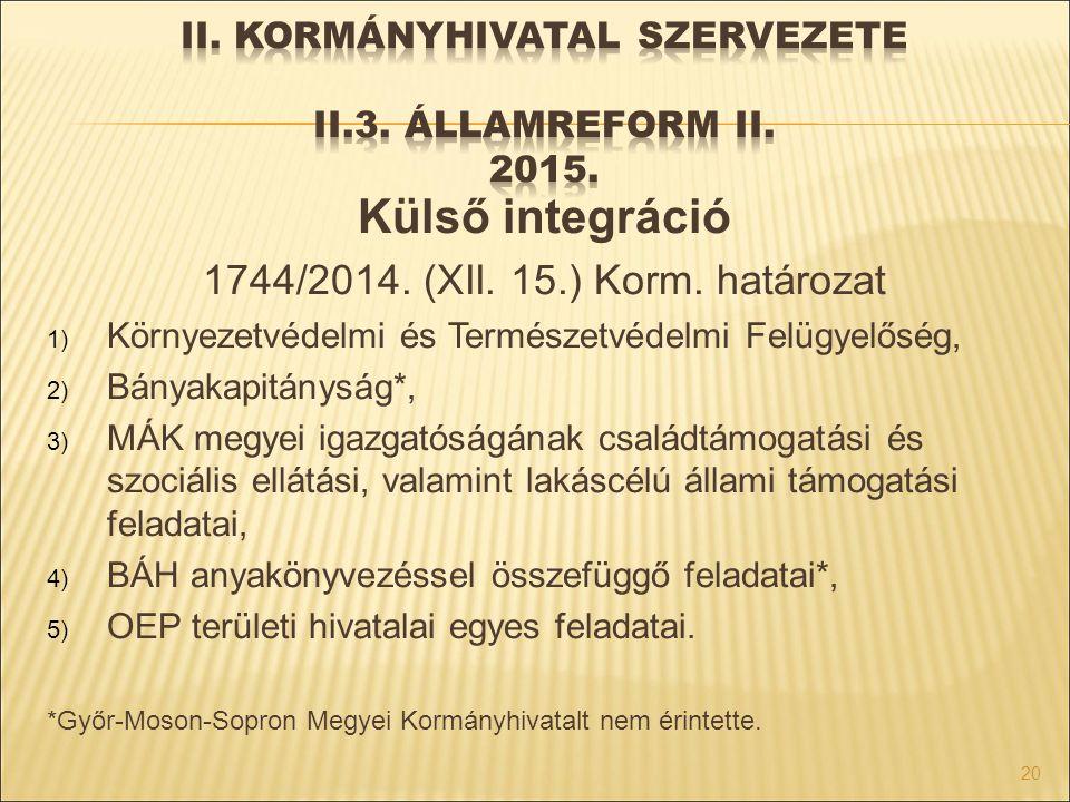 II. Kormányhivatal szervezete II.3. Államreform II. 2015.