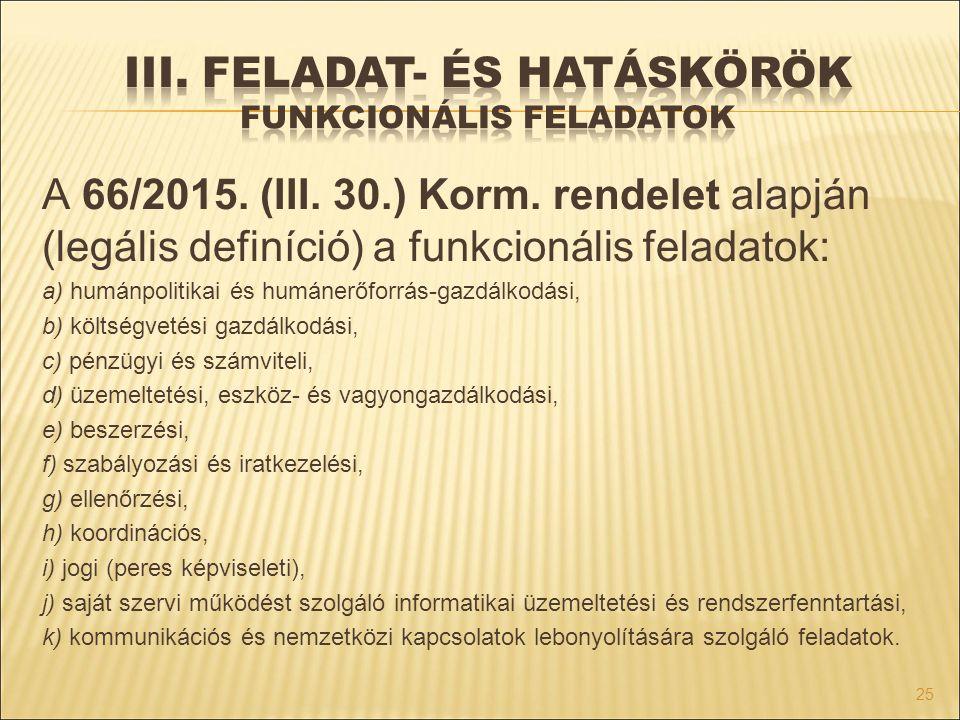 III. Feladat- és hatáskörök funkcionális feladatok
