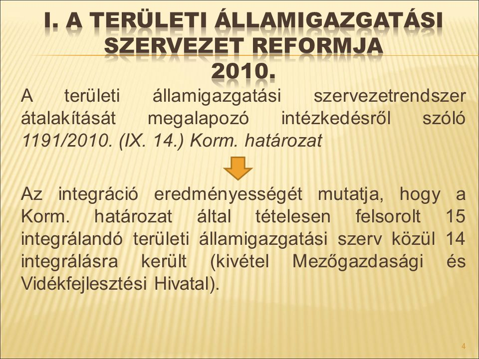 I. A területi államigazgatási szervezet Reformja 2010.