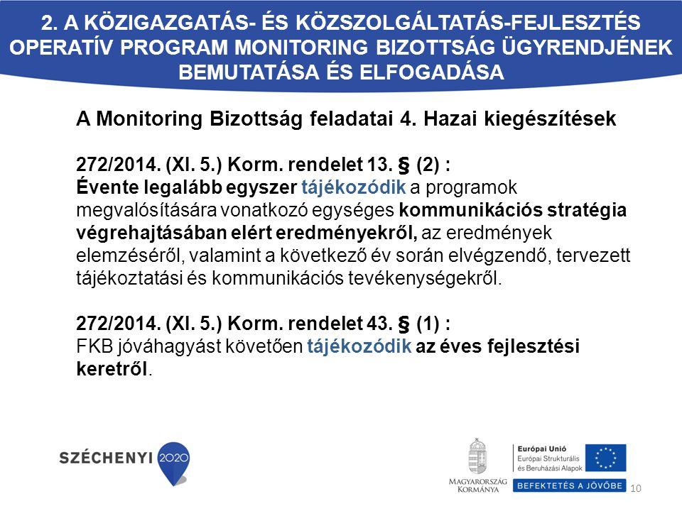 A Monitoring Bizottság feladatai 4. Hazai kiegészítések