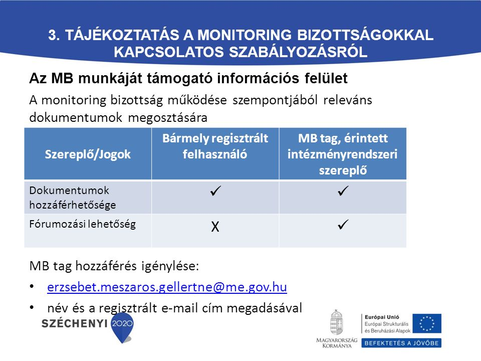 3. Tájékoztatás a Monitoring Bizottságokkal kapcsolatos szabályozásról