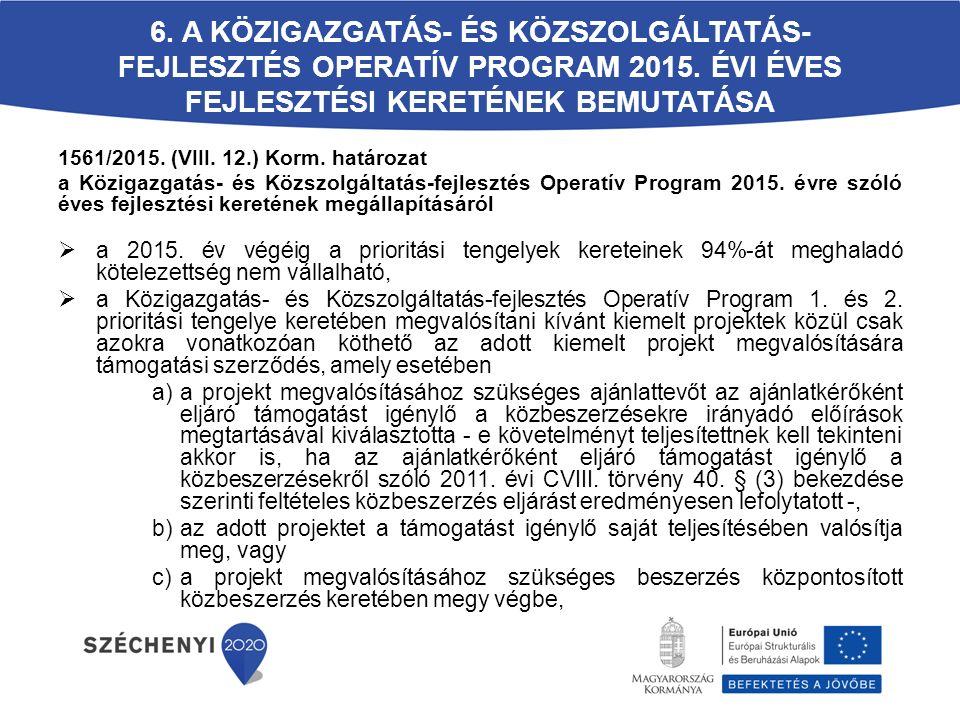6. A Közigazgatás- és Közszolgáltatás-fejlesztés Operatív Program 2015