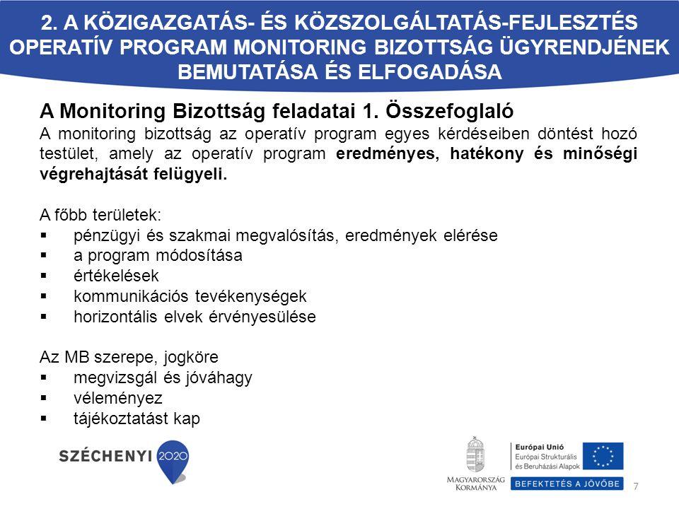 A Monitoring Bizottság feladatai 1. Összefoglaló