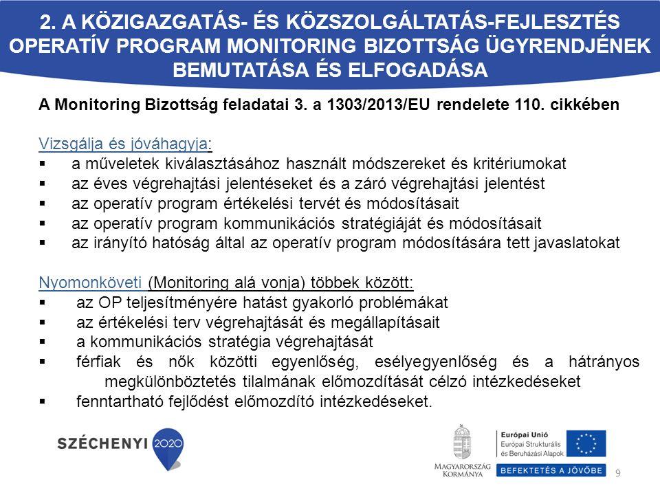2. A Közigazgatás- és Közszolgáltatás-fejlesztés Operatív Program Monitoring Bizottság ügyrendjének bemutatása és elfogadása