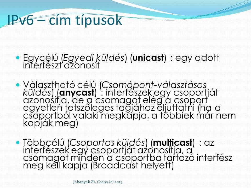 IPv6 – cím típusok Egycélú (Egyedi küldés) (unicast) : egy adott interfészt azonosít.