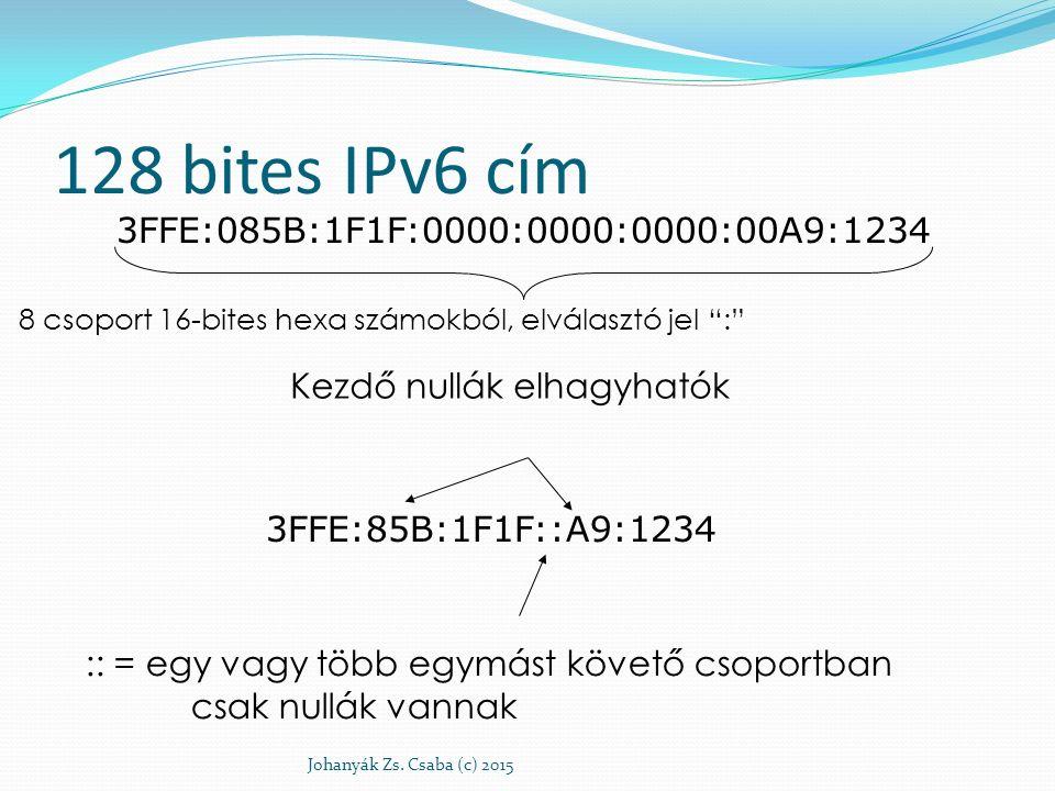 128 bites IPv6 cím 3FFE:085B:1F1F:0000:0000:0000:00A9:1234