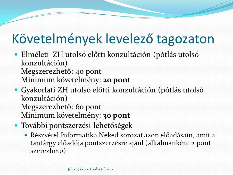 Követelmények levelező tagozaton