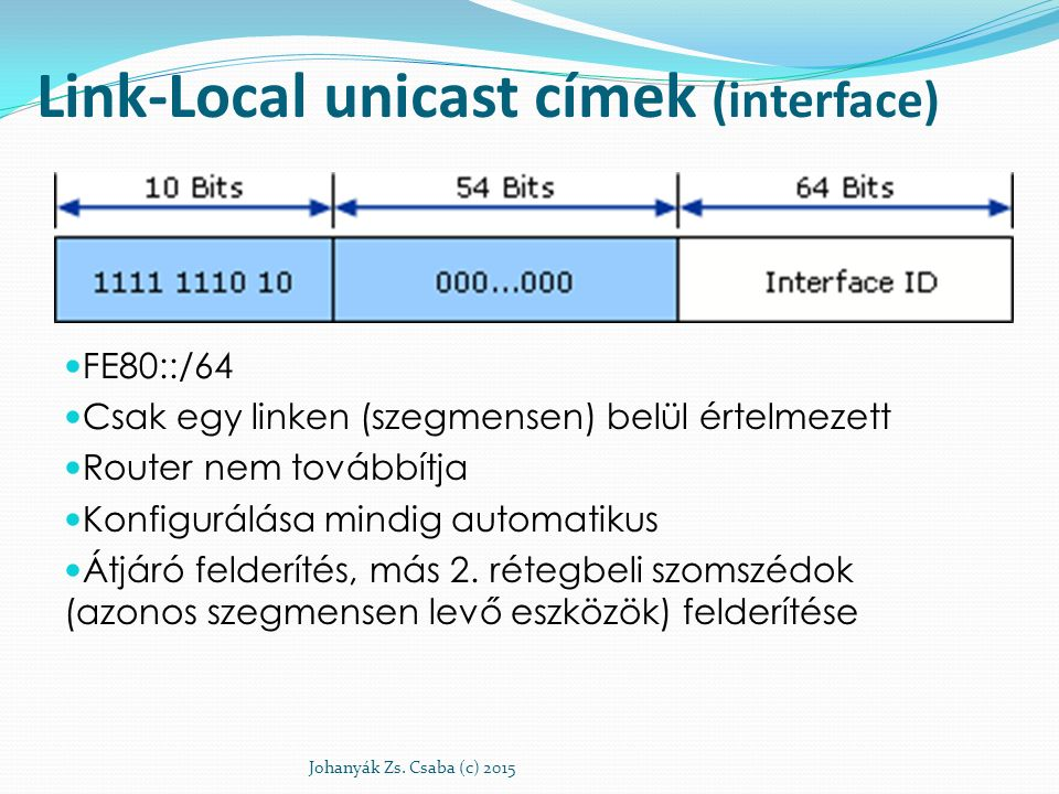 Link-Local unicast címek (interface)