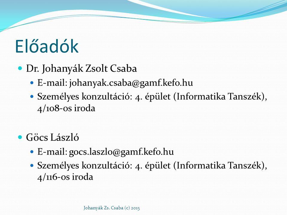Előadók Dr. Johanyák Zsolt Csaba Göcs László