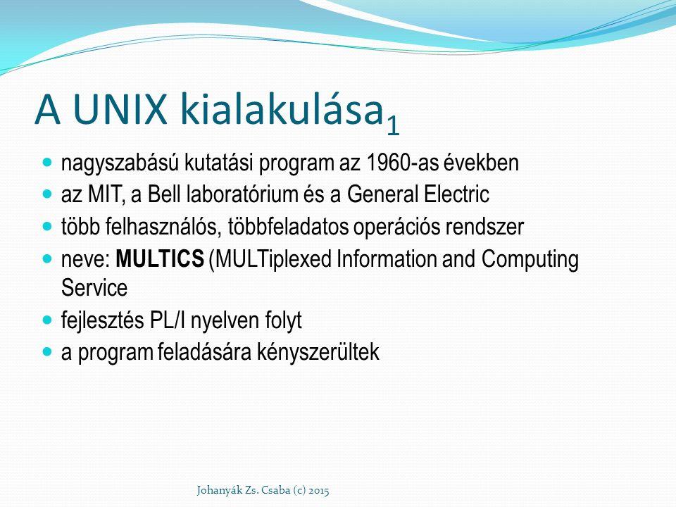 A UNIX kialakulása1 nagyszabású kutatási program az 1960-as években