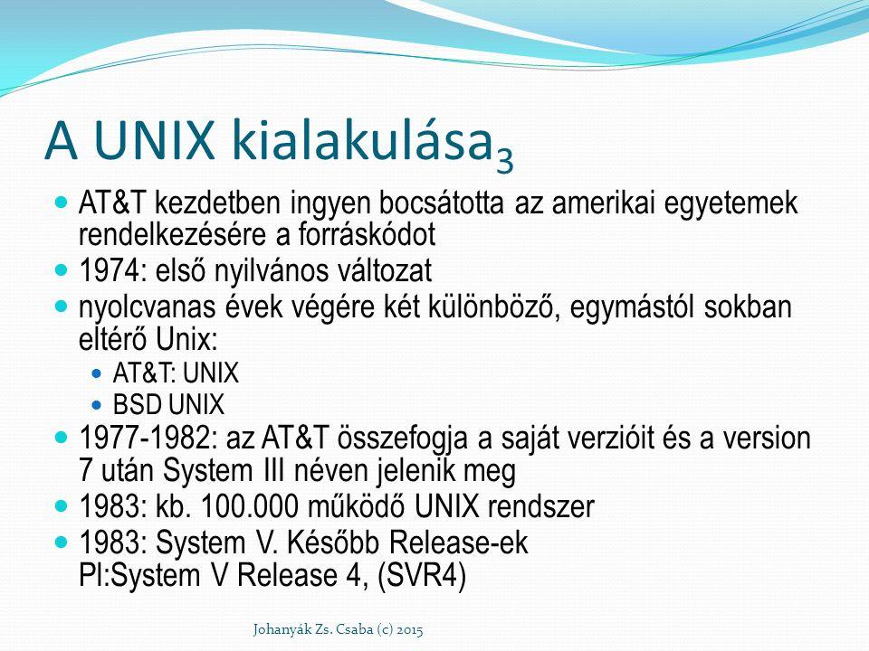 A UNIX kialakulása3 AT&T kezdetben ingyen bocsátotta az amerikai egyetemek rendelkezésére a forráskódot.