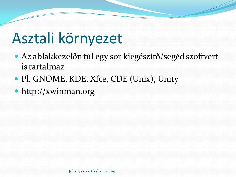Asztali környezet Az ablakkezelőn túl egy sor kiegészítő/segéd szoftvert is tartalmaz. Pl. GNOME, KDE, Xfce, CDE (Unix), Unity.