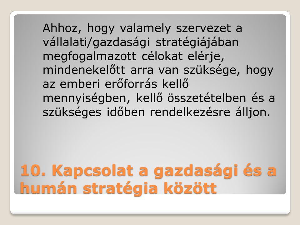 10. Kapcsolat a gazdasági és a humán stratégia között