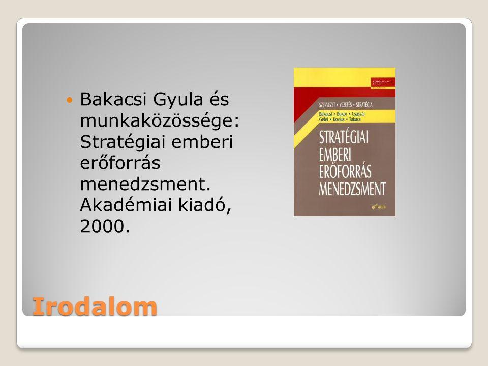 Bakacsi Gyula és munkaközössége: Stratégiai emberi erőforrás menedzsment. Akadémiai kiadó, 2000.