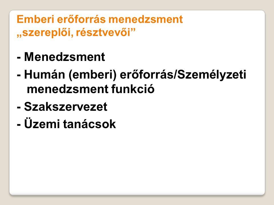 - Humán (emberi) erőforrás/Személyzeti menedzsment funkció