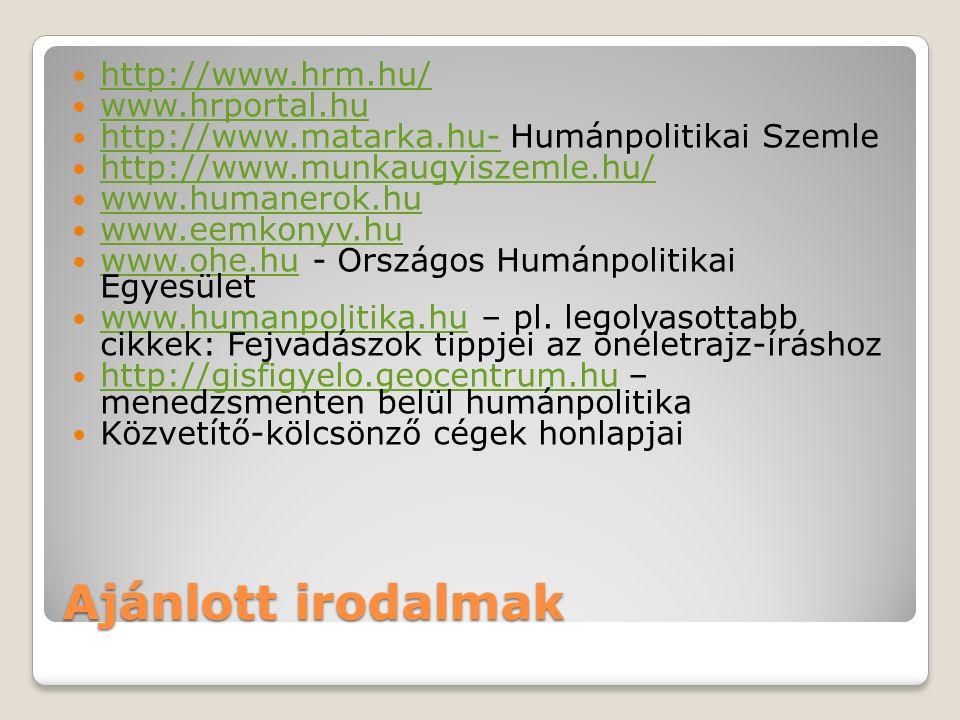 Ajánlott irodalmak http://www.hrm.hu/ www.hrportal.hu