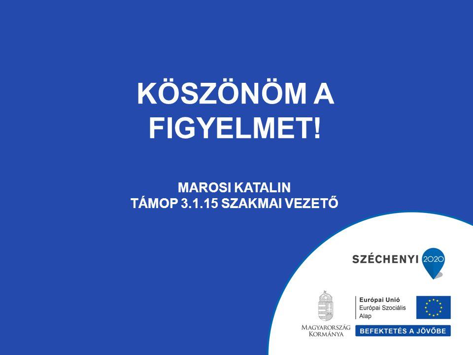 KÖSZÖNÖM A FIGYELMET! Marosi Katalin TÁMOP 3.1.15 szakmai vezető