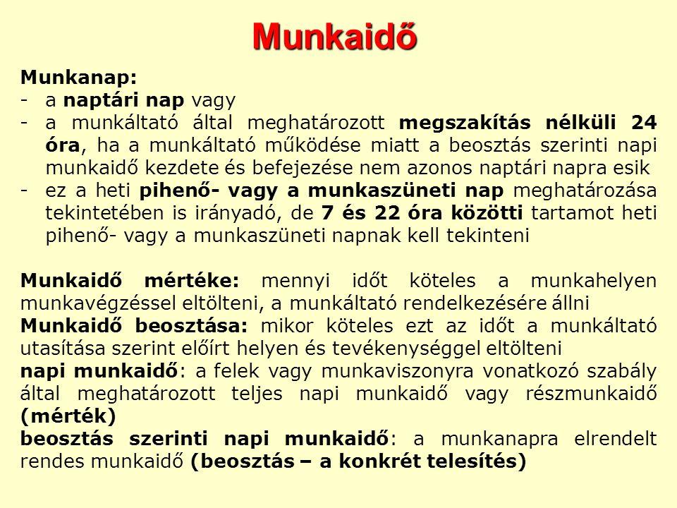 Munkaidő Munkanap: a naptári nap vagy