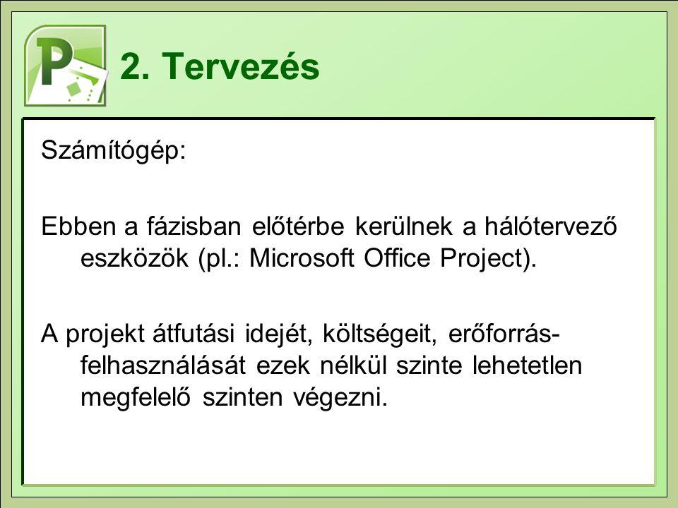 2. Tervezés Számítógép: Ebben a fázisban előtérbe kerülnek a hálótervező eszközök (pl.: Microsoft Office Project).