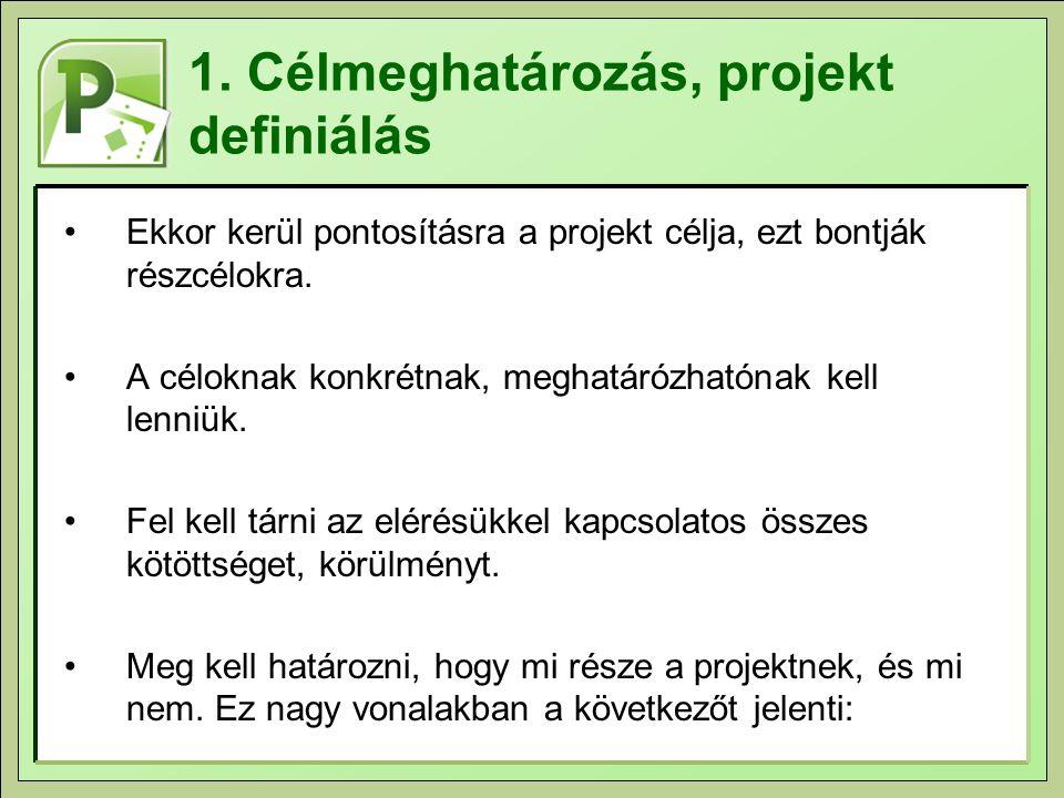 1. Célmeghatározás, projekt definiálás