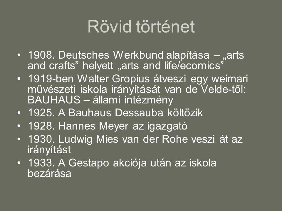 """Rövid történet 1908. Deutsches Werkbund alapítása – """"arts and crafts helyett """"arts and life/ecomics"""