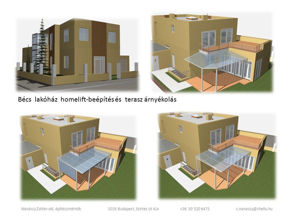 Bécs lakóház homelift-beépítés és terasz árnyékolás