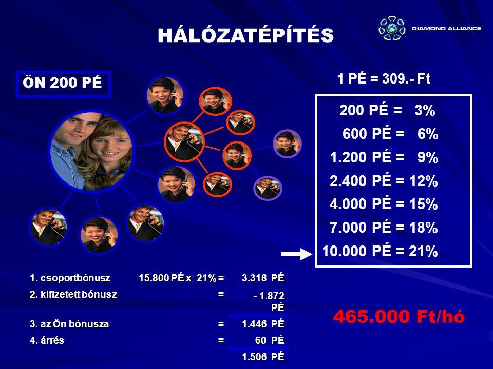 HÁLÓZATÉPÍTÉS 465.000 Ft/hó 600 PÉ = 6% 1.200 PÉ = 9% 2.400 PÉ = 12%