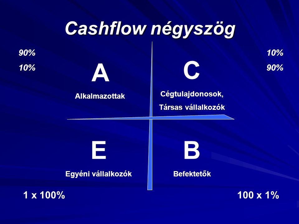 C A E B Cashflow négyszög 1 x 100% 100 x 1% 90% 10% 10% 90%