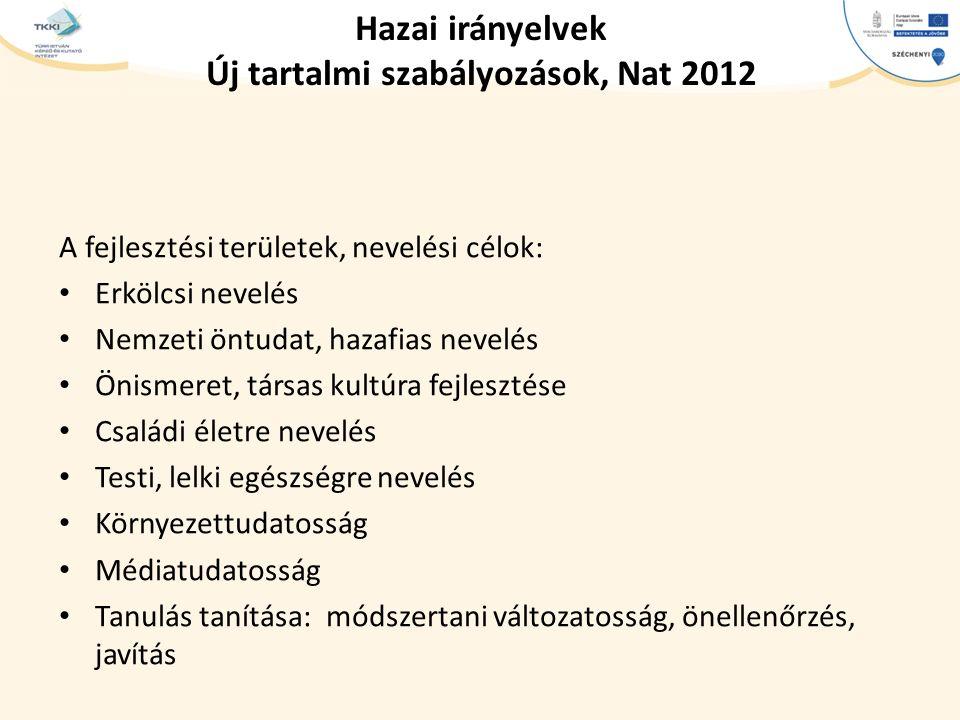 Hazai irányelvek Új tartalmi szabályozások, Nat 2012