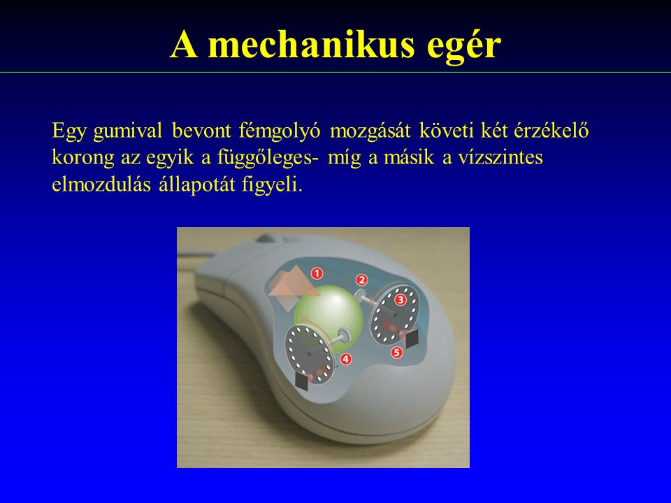 A mechanikus egér Egy gumival bevont fémgolyó mozgását követi két érzékelő. korong az egyik a függőleges- míg a másik a vízszintes.